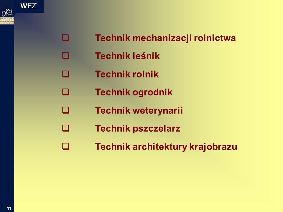 WEZ 11  Technik mechanizacji rolnictwa  Technik leśnik  Technik rolnik  Technik ogrodnik  Technik weterynarii  Technik pszczelarz  Technik arch