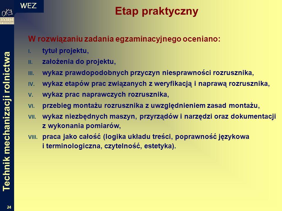 WEZ 24 W rozwiązaniu zadania egzaminacyjnego oceniano: I. tytuł projektu, II. założenia do projektu, III. wykaz prawdopodobnych przyczyn niesprawności