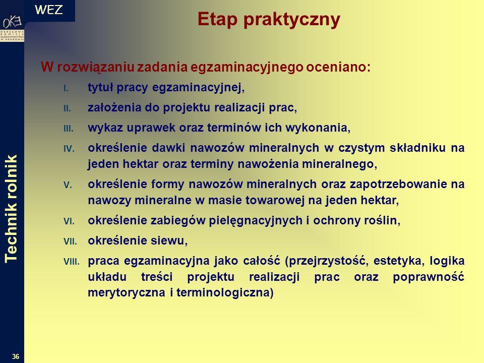 WEZ 36 W rozwiązaniu zadania egzaminacyjnego oceniano: I.