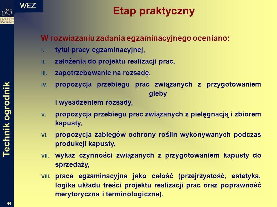 WEZ 44 W rozwiązaniu zadania egzaminacyjnego oceniano: I. tytuł pracy egzaminacyjnej, II. założenia do projektu realizacji prac, III. zapotrzebowanie