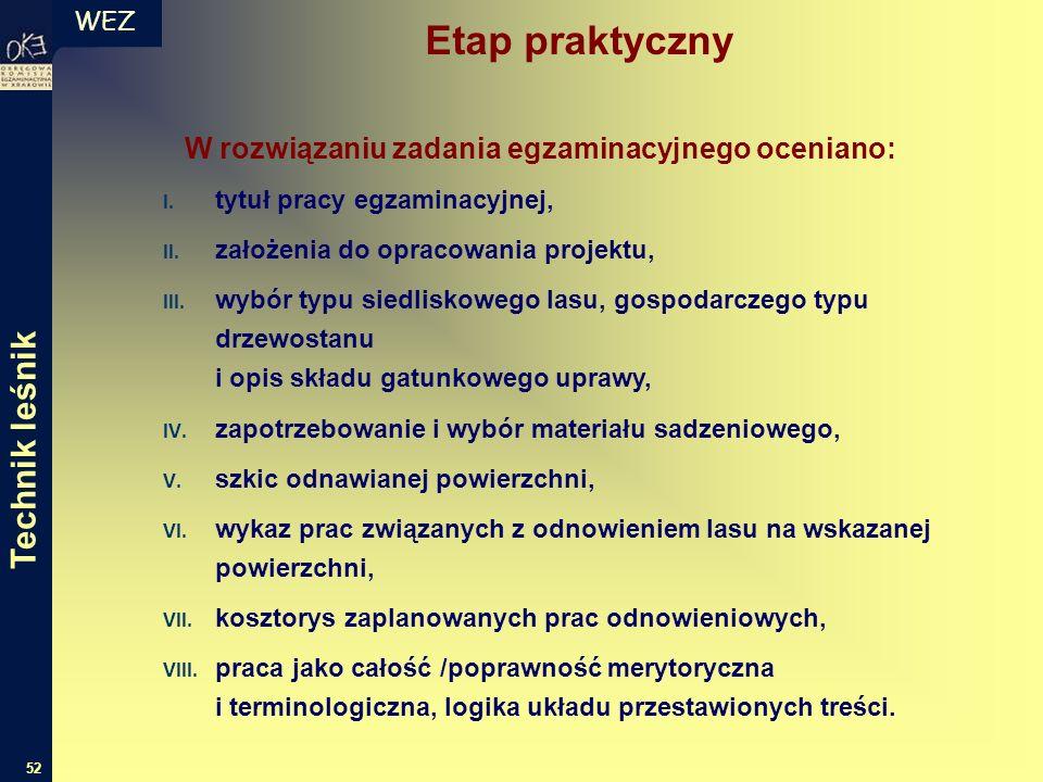WEZ 52 W rozwiązaniu zadania egzaminacyjnego oceniano: I.