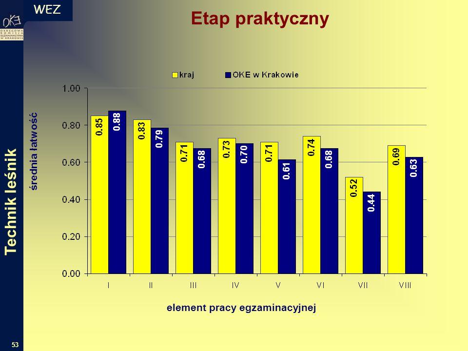WEZ 53 średnia łatwość element pracy egzaminacyjnej Etap praktyczny Technik leśnik