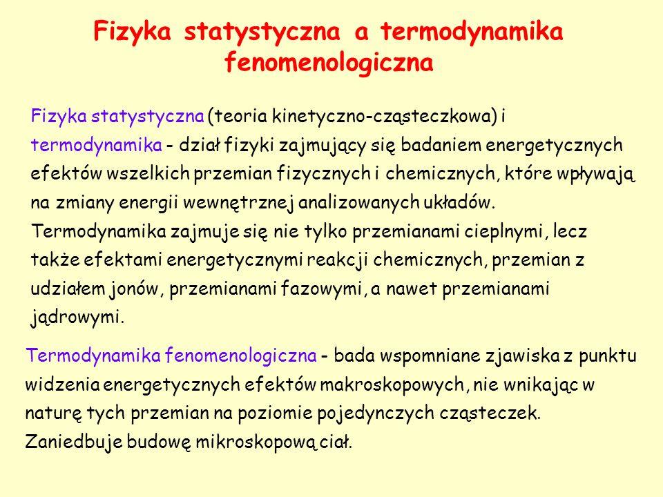 Fizyka statystyczna a termodynamika fenomenologiczna Fizyka statystyczna (teoria kinetyczno-cząsteczkowa) i termodynamika - dział fizyki zajmujący się
