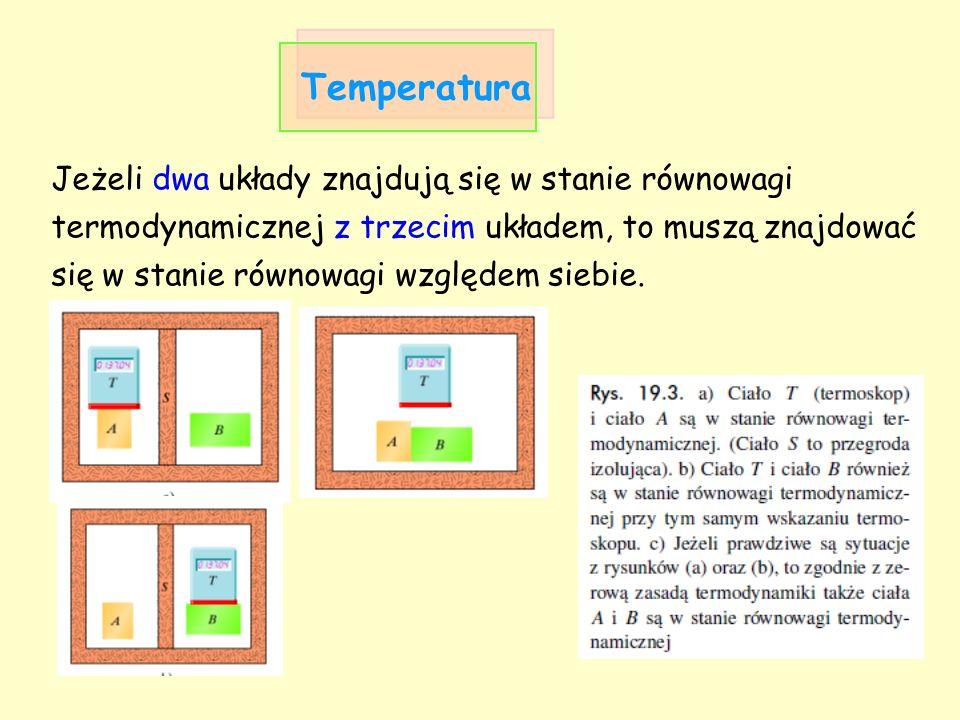 Temperatura Jeżeli dwa układy znajdują się w stanie równowagi termodynamicznej z trzecim układem, to muszą znajdować się w stanie równowagi względem s
