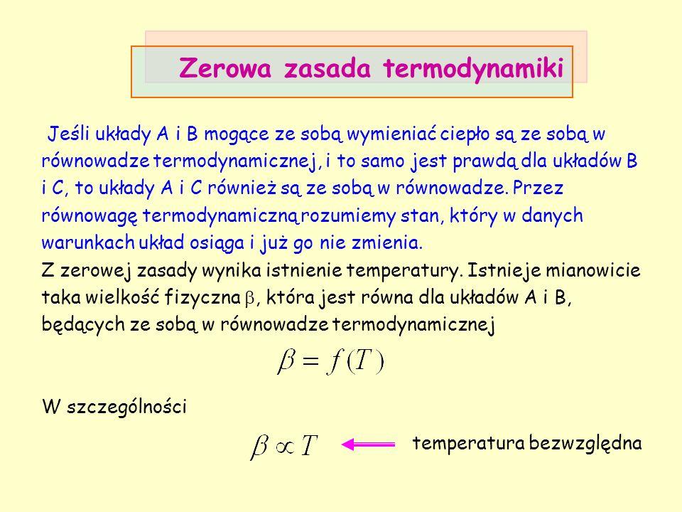 Zerowa zasada termodynamiki Jeśli układy A i B mogące ze sobą wymieniać ciepło są ze sobą w równowadze termodynamicznej, i to samo jest prawdą dla ukł