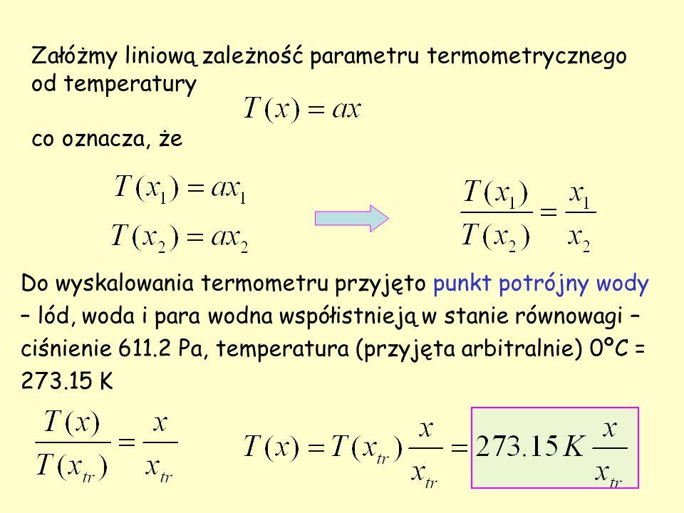 Załóżmy liniową zależność parametru termometrycznego od temperatury co oznacza, że Do wyskalowania termometru przyjęto punkt potrójny wody – lód, woda i para wodna współistnieją w stanie równowagi – ciśnienie 611.2 Pa, temperatura (przyjęta arbitralnie) 0ºC = 273.15 K