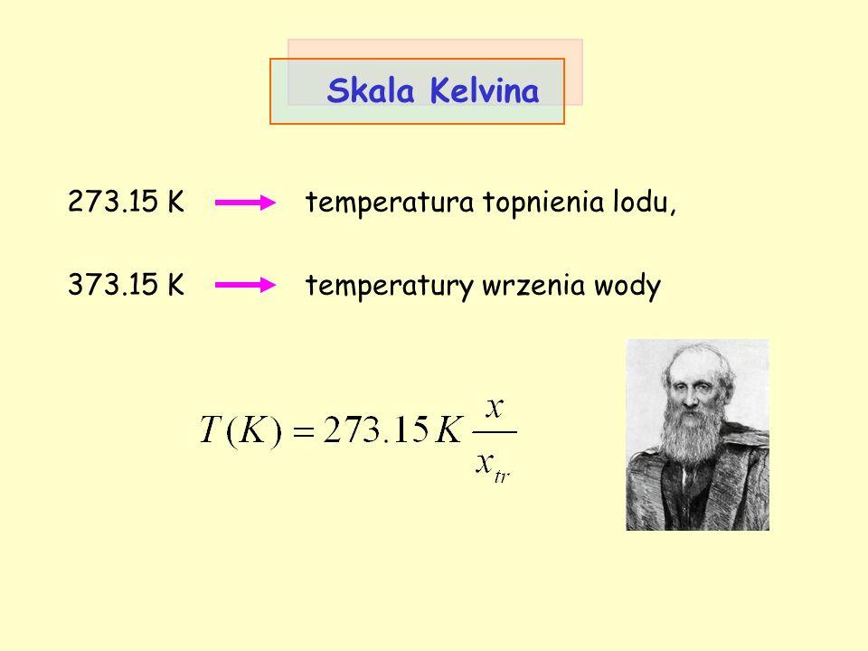 Skala Kelvina 273.15 K temperatura topnienia lodu, 373.15 K temperatury wrzenia wody