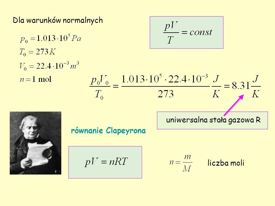 Dla warunków normalnych uniwersalna stała gazowa R równanie Clapeyrona liczba moli