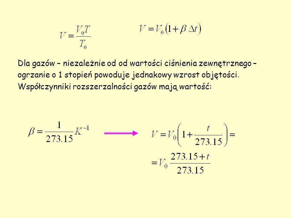 Dla gazów – niezależnie od od wartości ciśnienia zewnętrznego – ogrzanie o 1 stopień powoduje jednakowy wzrost objętości. Współczynniki rozszerzalnośc