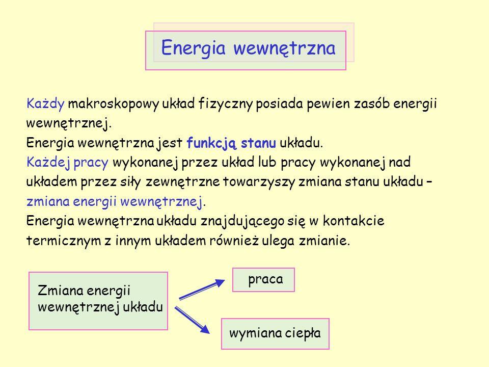 Energia wewnętrzna Każdy makroskopowy układ fizyczny posiada pewien zasób energii wewnętrznej. Energia wewnętrzna jest funkcją stanu układu. Każdej pr