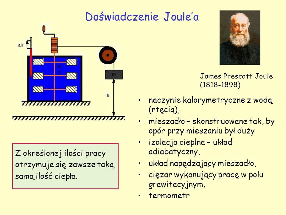 Doświadczenie Joule'a James Prescott Joule (1818-1898) naczynie kalorymetryczne z wodą (rtęcią), mieszadło – skonstruowane tak, by opór przy mieszaniu