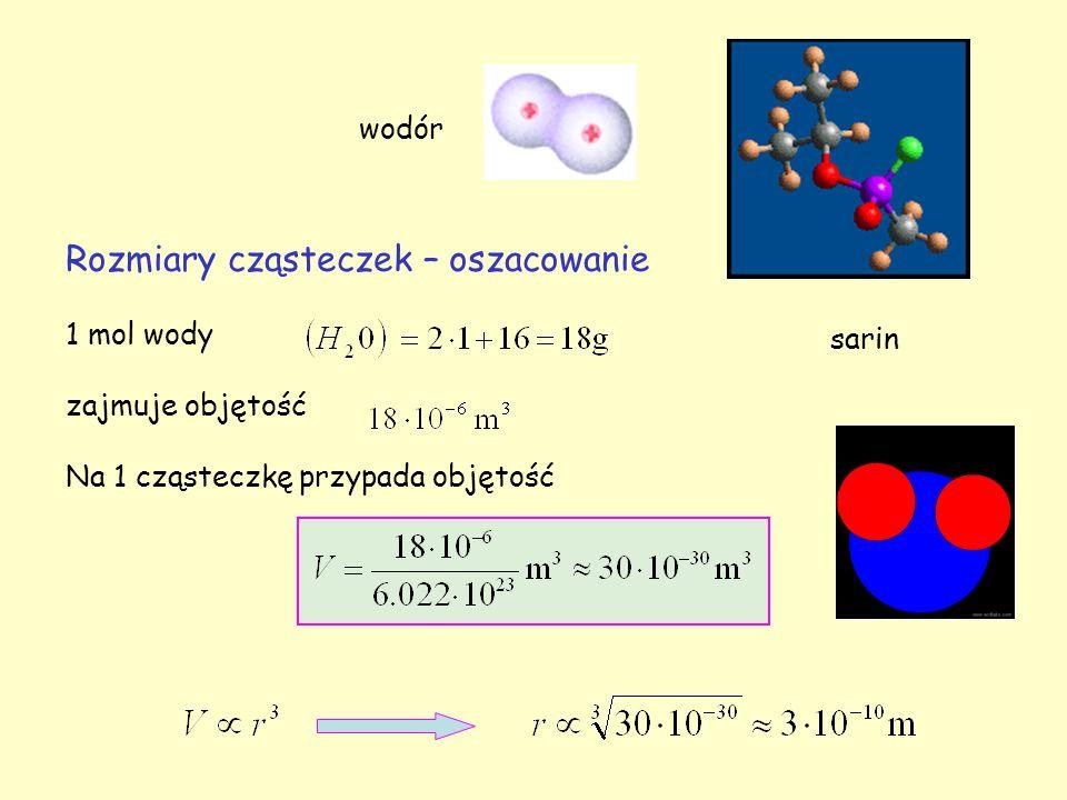 Rozmiary cząsteczek – oszacowanie 1 mol wody zajmuje objętość Na 1 cząsteczkę przypada objętość sarin wodór