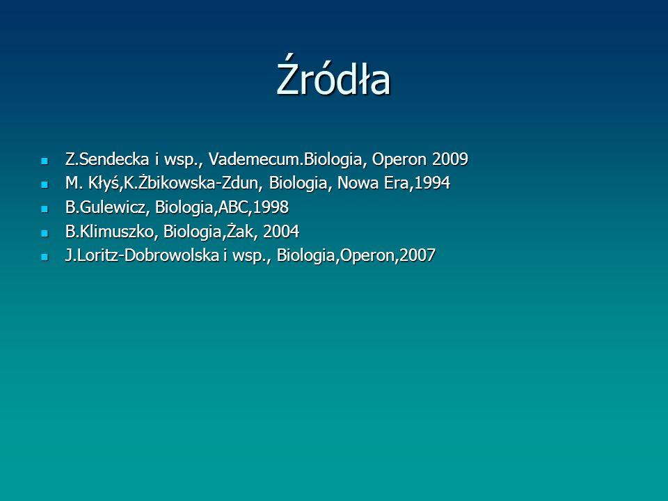 Źródła Z.Sendecka i wsp., Vademecum.Biologia, Operon 2009 Z.Sendecka i wsp., Vademecum.Biologia, Operon 2009 M. Kłyś,K.Żbikowska-Zdun, Biologia, Nowa