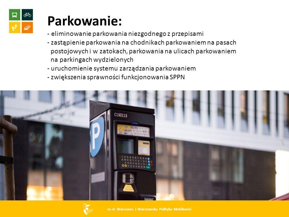 m.st. Warszawa   Warszawska Polityka Mobilności Parkowanie: - eliminowanie parkowania niezgodnego z przepisami - zastąpienie parkowania na chodnikach