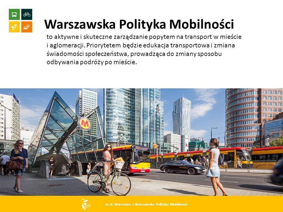 Warszawska Polityka Mobilności to aktywne i skuteczne zarządzanie popytem na transport w mieście i aglomeracji. Priorytetem będzie edukacja transporto