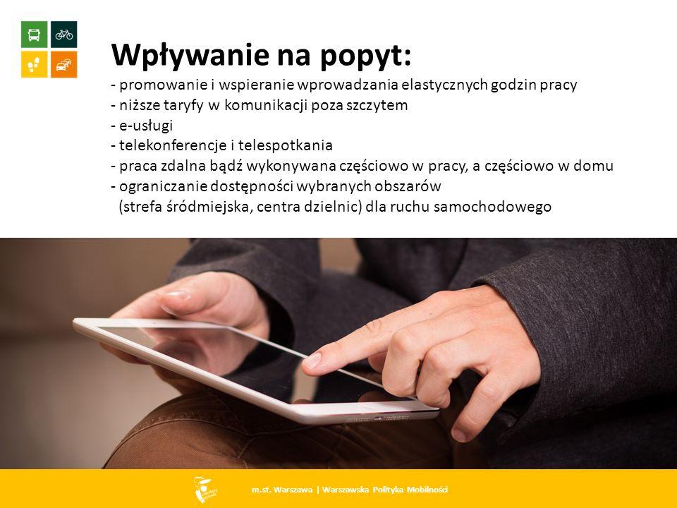 m.st. Warszawa   Warszawska Polityka Mobilności Wpływanie na popyt: - promowanie i wspieranie wprowadzania elastycznych godzin pracy - niższe taryfy w