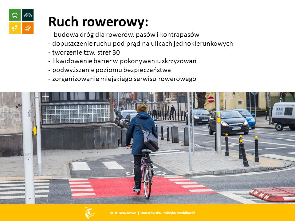 m.st. Warszawa   Warszawska Polityka Mobilności Ruch rowerowy: - budowa dróg dla rowerów, pasów i kontrapasów - dopuszczenie ruchu pod prąd na ulicach