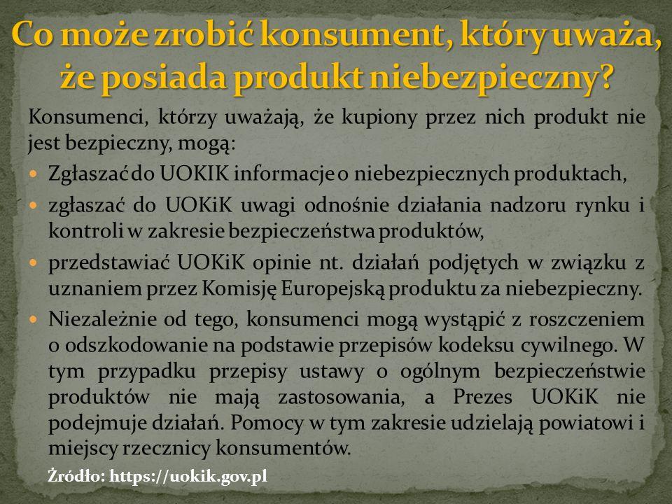 Konsumenci, którzy uważają, że kupiony przez nich produkt nie jest bezpieczny, mogą: Zgłaszać do UOKIK informacje o niebezpiecznych produktach, zgłaszać do UOKiK uwagi odnośnie działania nadzoru rynku i kontroli w zakresie bezpieczeństwa produktów, przedstawiać UOKiK opinie nt.