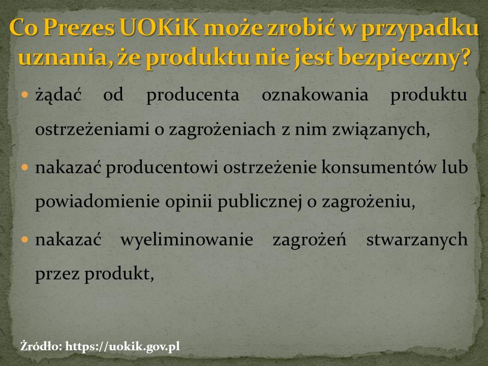 żądać od producenta oznakowania produktu ostrzeżeniami o zagrożeniach z nim związanych, nakazać producentowi ostrzeżenie konsumentów lub powiadomienie opinii publicznej o zagrożeniu, nakazać wyeliminowanie zagrożeń stwarzanych przez produkt, Żródło: https://uokik.gov.pl