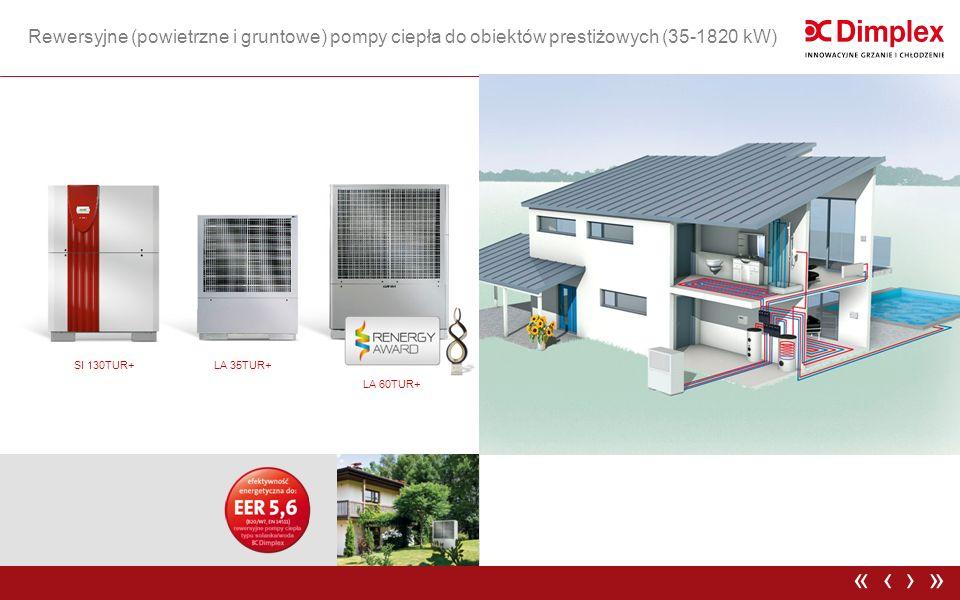 Rewersyjne (powietrzne i gruntowe) pompy ciepła do obiektów prestiżowych (35-1820 kW) ›»‹« LA 35TUR+ LA 60TUR+ SI 130TUR+