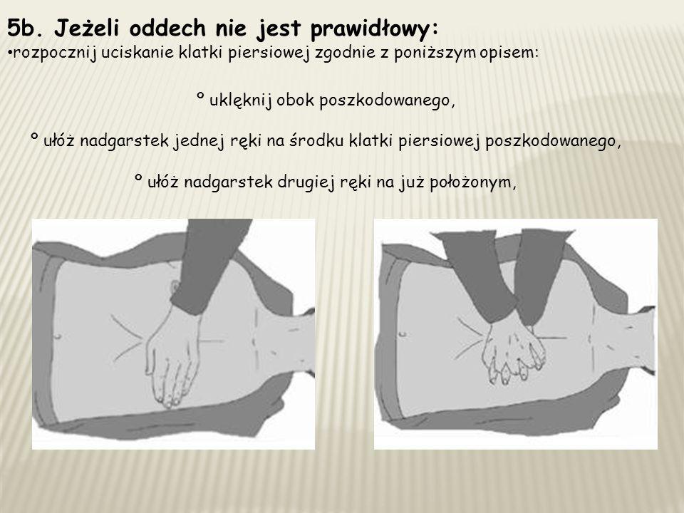 5b. Jeżeli oddech nie jest prawidłowy: rozpocznij uciskanie klatki piersiowej zgodnie z poniższym opisem: º uklęknij obok poszkodowanego, º ułóż nadga