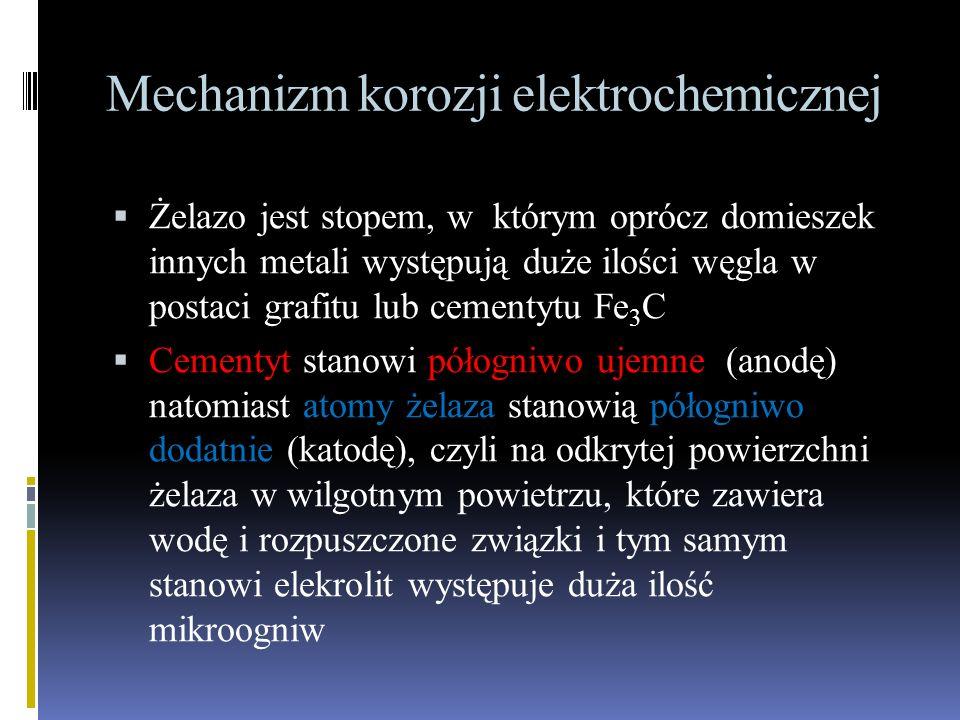 Mechanizm korozji elektrochemicznej  Żelazo jest stopem, w którym oprócz domieszek innych metali występują duże ilości węgla w postaci grafitu lub cementytu Fe 3 C  Cementyt stanowi półogniwo ujemne (anodę) natomiast atomy żelaza stanowią półogniwo dodatnie (katodę), czyli na odkrytej powierzchni żelaza w wilgotnym powietrzu, które zawiera wodę i rozpuszczone związki i tym samym stanowi elekrolit występuje duża ilość mikroogniw