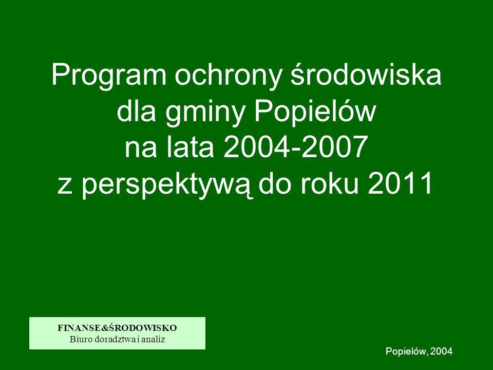 Program ochrony środowiska dla gminy Popielów na lata 2004-2007 z perspektywą do roku 2011 Popielów, 2004 FINANSE&ŚRODOWISKO Biuro doradztwa i analiz