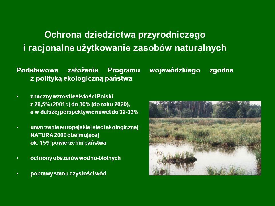 Ochrona dziedzictwa przyrodniczego i racjonalne użytkowanie zasobów naturalnych Podstawowe założenia Programu wojewódzkiego zgodne z polityką ekologiczną państwa znaczny wzrost lesistości Polski z 28,5% (2001r.) do 30% (do roku 2020), a w dalszej perspektywie nawet do 32-33% utworzenie europejskiej sieci ekologicznej NATURA 2000 obejmującej ok.