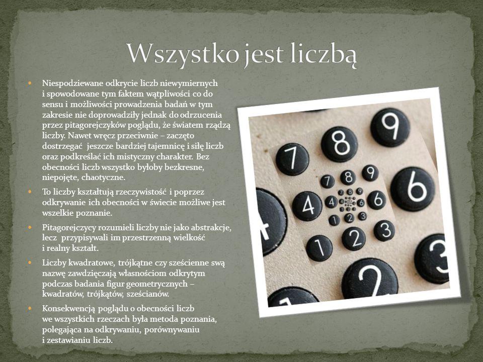 Najpierw fakt odkrycia liczb niewymiernych związek pitagorejski trzymał w tajemnicy, później jednak nastąpił podział szkoły na akuzmatyków i matematyków.