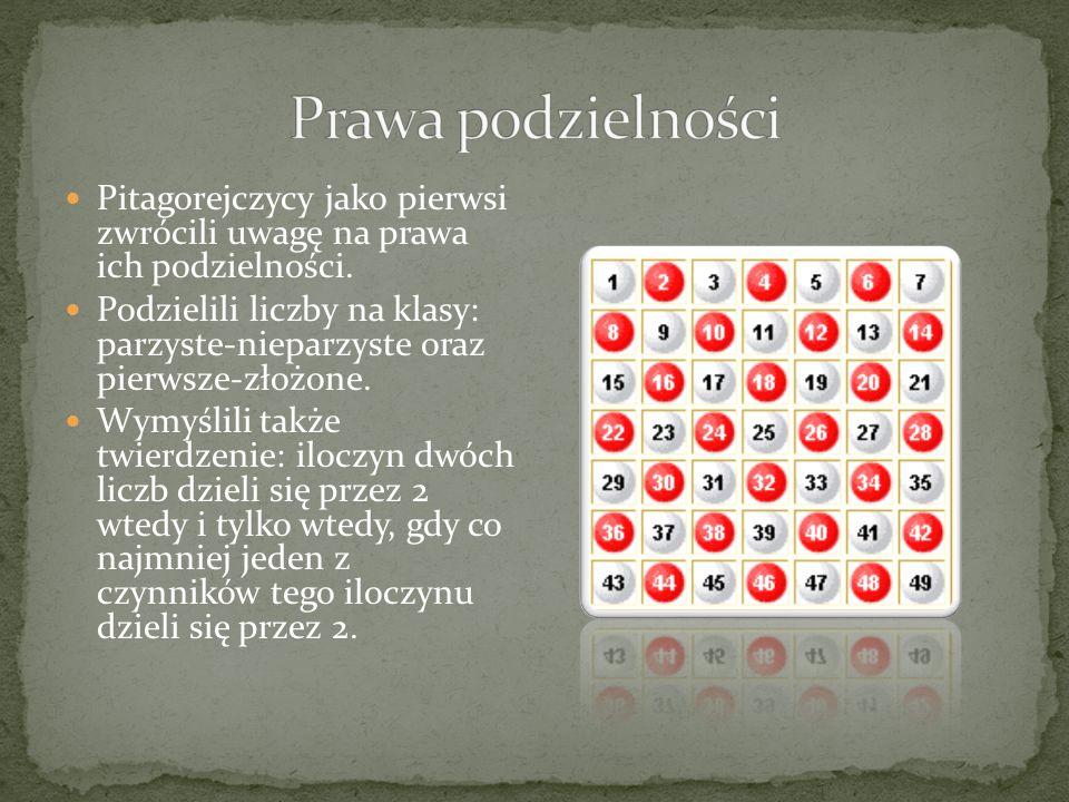 Pitagorejczycy pod pojęciem liczby rozumieli tylko liczby naturalne traktowane jako zbiory jedności.