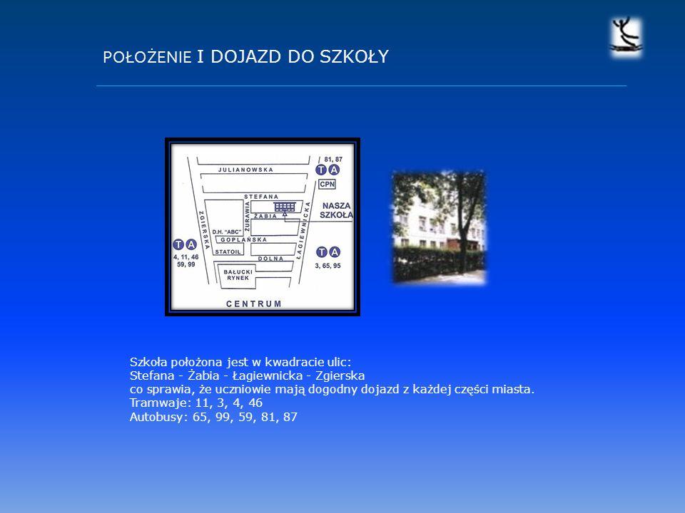 POŁOŻENIE I DOJAZD DO SZKOŁY Szkoła położona jest w kwadracie ulic: Stefana - Żabia - Łagiewnicka - Zgierska co sprawia, że uczniowie mają dogodny dojazd z każdej części miasta.