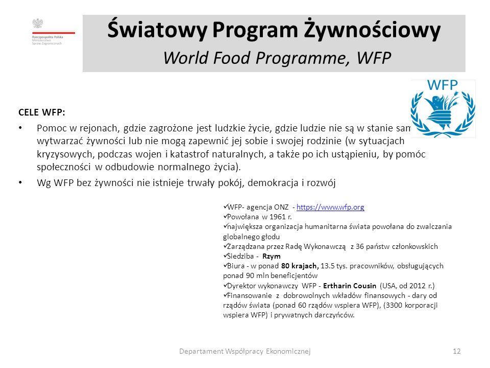 Światowy Program Żywnościowy World Food Programme, WFP CELE WFP: Pomoc w rejonach, gdzie zagrożone jest ludzkie życie, gdzie ludzie nie są w stanie samodzielnie wytwarzać żywności lub nie mogą zapewnić jej sobie i swojej rodzinie (w sytuacjach kryzysowych, podczas wojen i katastrof naturalnych, a także po ich ustąpieniu, by pomóc społeczności w odbudowie normalnego życia).