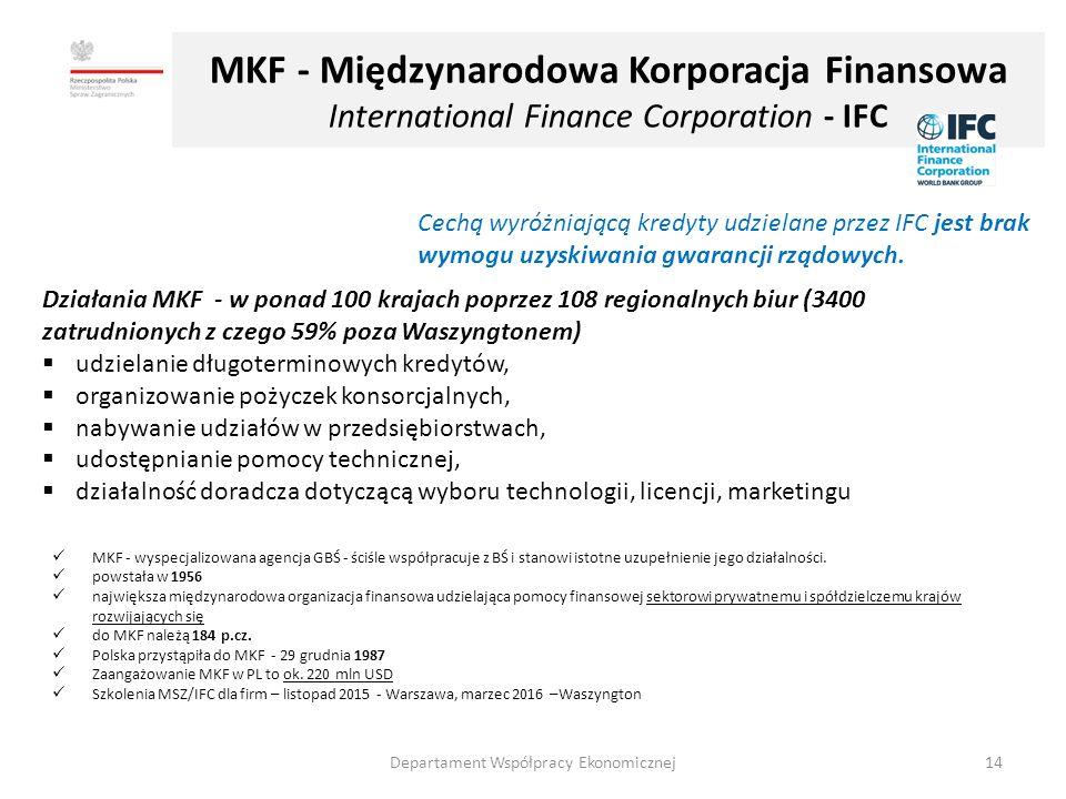 MKF - Międzynarodowa Korporacja Finansowa International Finance Corporation - IFC Działania MKF - w ponad 100 krajach poprzez 108 regionalnych biur (3400 zatrudnionych z czego 59% poza Waszyngtonem)  udzielanie długoterminowych kredytów,  organizowanie pożyczek konsorcjalnych,  nabywanie udziałów w przedsiębiorstwach,  udostępnianie pomocy technicznej,  działalność doradcza dotyczącą wyboru technologii, licencji, marketingu Cechą wyróżniającą kredyty udzielane przez IFC jest brak wymogu uzyskiwania gwarancji rządowych.