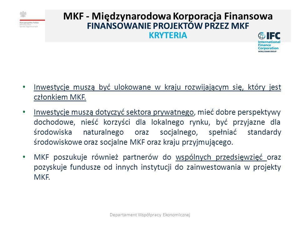 15 Inwestycje muszą być ulokowane w kraju rozwijającym się, który jest członkiem MKF.