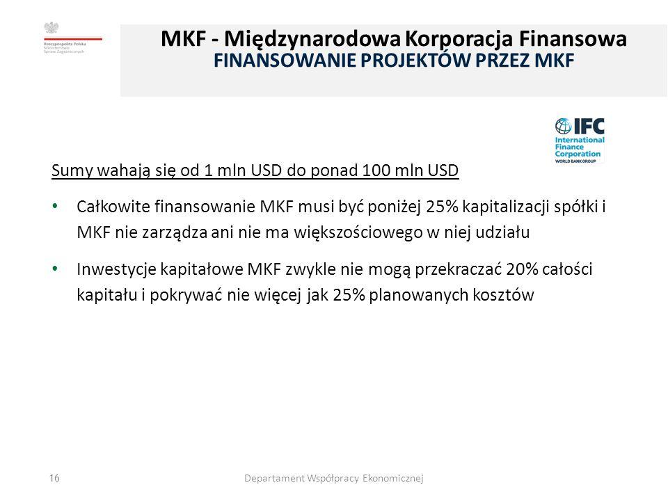 16 Sumy wahają się od 1 mln USD do ponad 100 mln USD Całkowite finansowanie MKF musi być poniżej 25% kapitalizacji spółki i MKF nie zarządza ani nie ma większościowego w niej udziału Inwestycje kapitałowe MKF zwykle nie mogą przekraczać 20% całości kapitału i pokrywać nie więcej jak 25% planowanych kosztów Departament Współpracy Ekonomicznej MKF - Międzynarodowa Korporacja Finansowa FINANSOWANIE PROJEKTÓW PRZEZ MKF