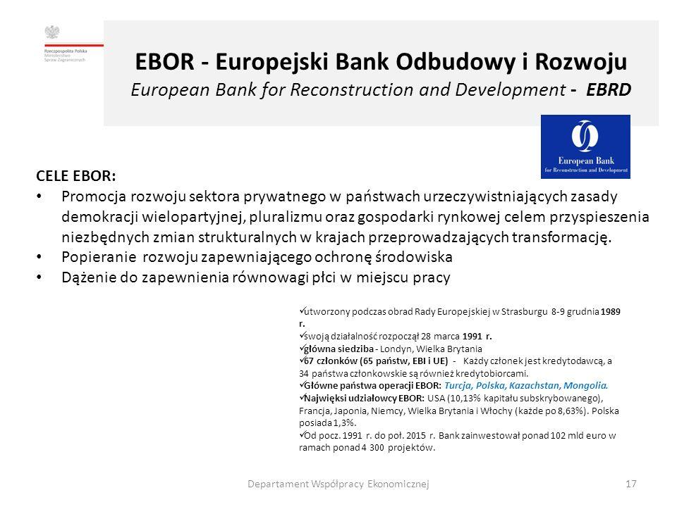 EBOR - Europejski Bank Odbudowy i Rozwoju European Bank for Reconstruction and Development - EBRD CELE EBOR: Promocja rozwoju sektora prywatnego w państwach urzeczywistniających zasady demokracji wielopartyjnej, pluralizmu oraz gospodarki rynkowej celem przyspieszenia niezbędnych zmian strukturalnych w krajach przeprowadzających transformację.