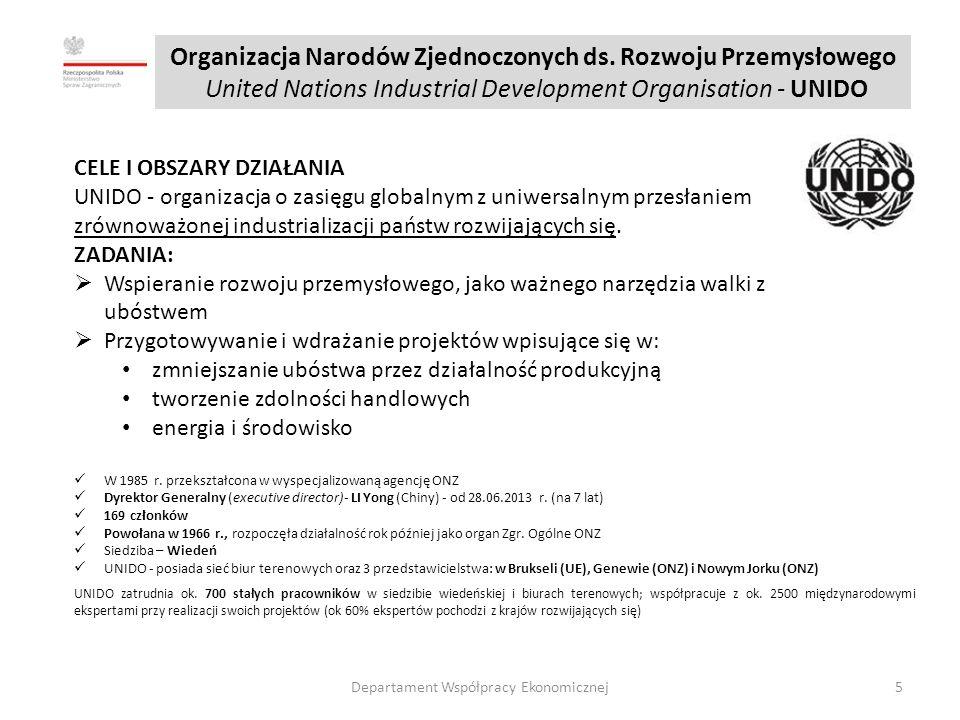 Polska-jeden z liderów grupy wschodnioeuropejskiej (obok Rosji) oraz jeden z najbardziej rozpoznawalnych i aktywnych w ramach UNIDO p.cz.