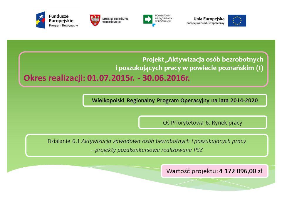 """Projekt """"Aktywizacja osób bezrobotnych i poszukujących pracy w powiecie poznańskim (I) Okres realizacji: 01.07.2015r."""