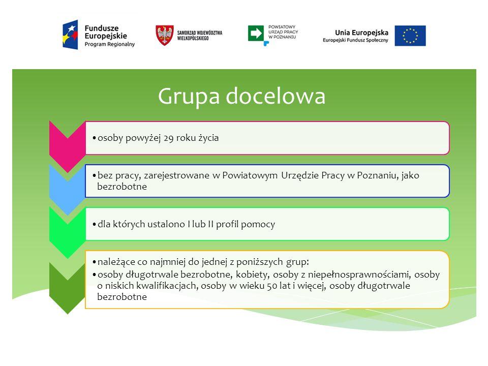Grupa docelowa osoby powyżej 29 roku życia bez pracy, zarejestrowane w Powiatowym Urzędzie Pracy w Poznaniu, jako bezrobotne dla których ustalono I lub II profil pomocy należące co najmniej do jednej z poniższych grup: osoby długotrwale bezrobotne, kobiety, osoby z niepełnosprawnościami, osoby o niskich kwalifikacjach, osoby w wieku 50 lat i więcej, osoby długotrwale bezrobotne