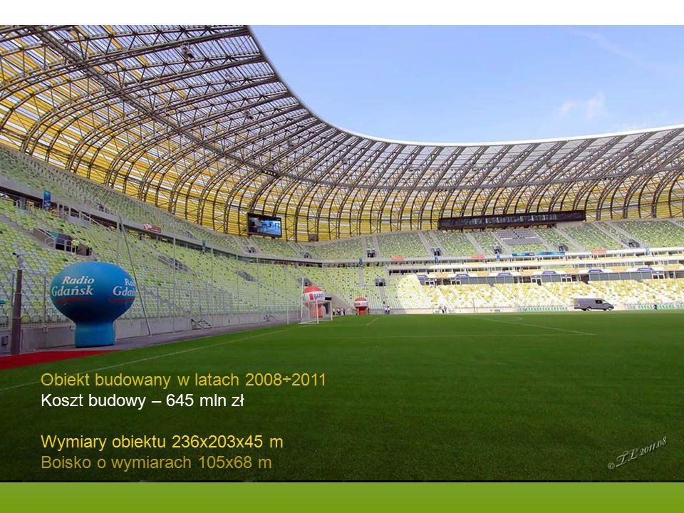 2011-08-06 dzień otwarty, ponad 80.000 osób zwiedzających Obiekt budowany w latach 2008÷2011 Koszt budowy – 645 mln zł Wymiary obiektu 236x203x45 m Boisko o wymiarach 105x68 m