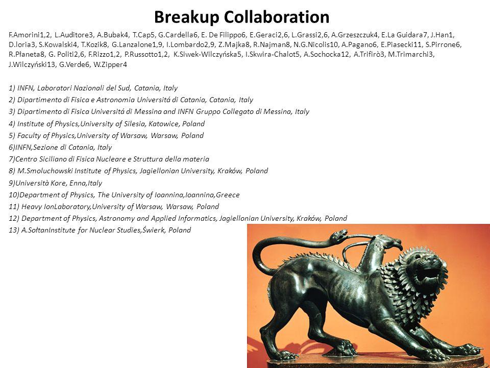 Breakup Collaboration F.Amorini1,2, L.Auditore3, A.Bubak4, T.Cap5, G.Cardella6, E.