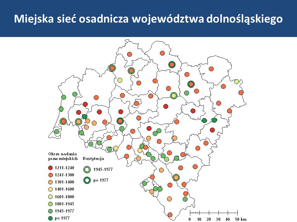 RegionLiczba miast Gęstość sieci miejskiej [km 2 na miasto] Udział ludności miejskiej [%] Polska 908344,460,4 dolnośląskie 91219,269,4 wielkopolskie 109273,655,2 śląskie 71173,777,4 Saksonia 171107,780,1 Północne Czechy 155114,264,8