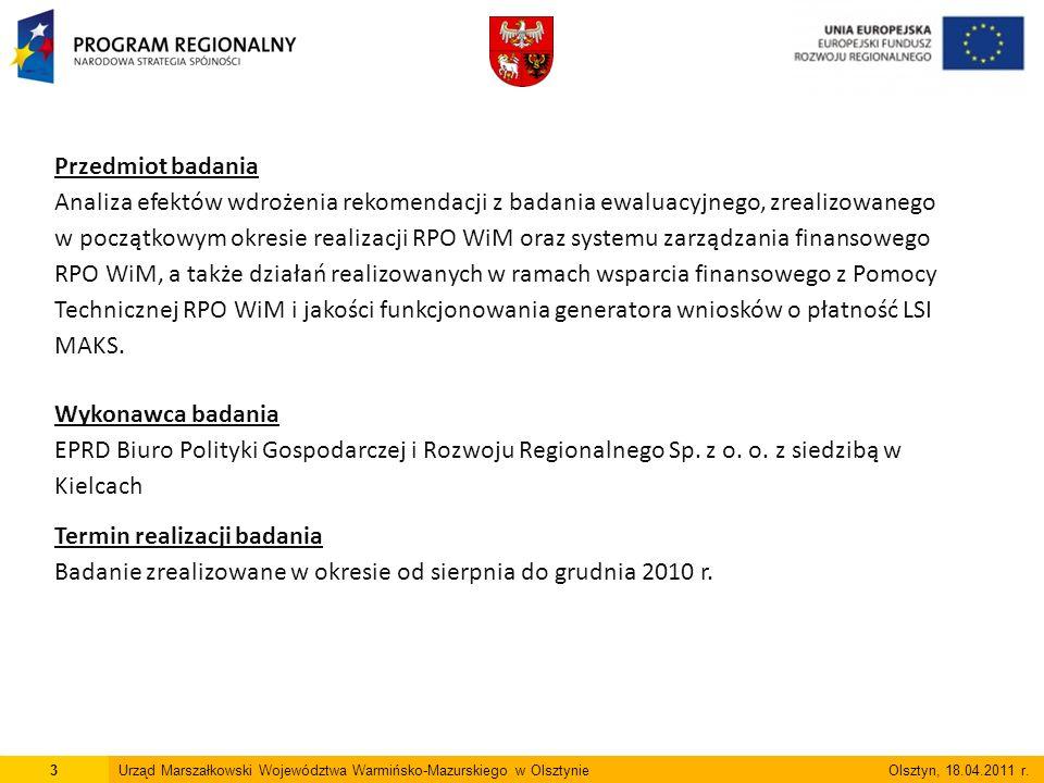3Urząd Marszałkowski Województwa Warmińsko-Mazurskiego w Olsztynie Olsztyn, 18.04.2011 r.