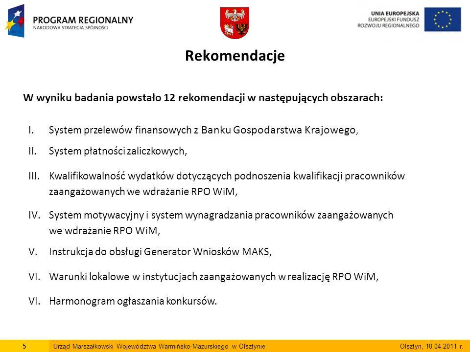 5Urząd Marszałkowski Województwa Warmińsko-Mazurskiego w Olsztynie Olsztyn, 18.04.2011 r.
