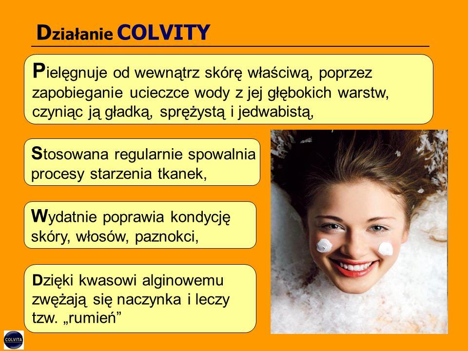 D ziałanie COLVITY P ielęgnuje od wewnątrz skórę właściwą, poprzez zapobieganie ucieczce wody z jej głębokich warstw, czyniąc ją gładką, sprężystą i jedwabistą, Dzięki kwasowi alginowemu zwężają się naczynka i leczy tzw.