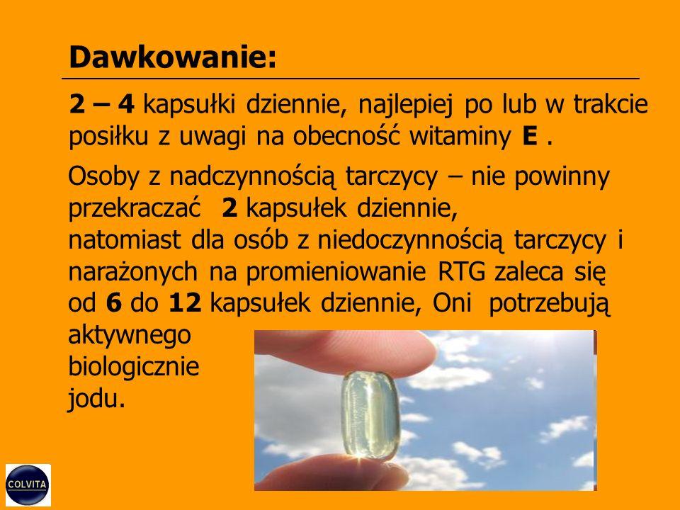 Dawkowanie: 2 – 4 kapsułki dziennie, najlepiej po lub w trakcie posiłku z uwagi na obecność witaminy E.