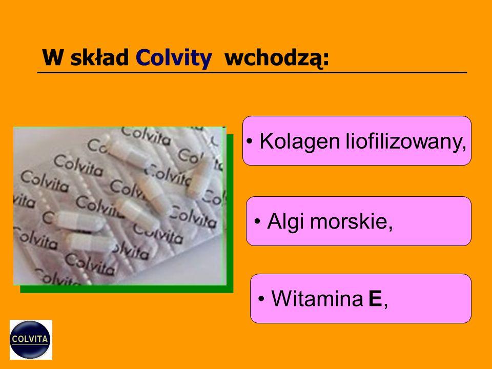 W skład Colvity wchodzą: Kolagen liofilizowany, Algi morskie, Witamina E,