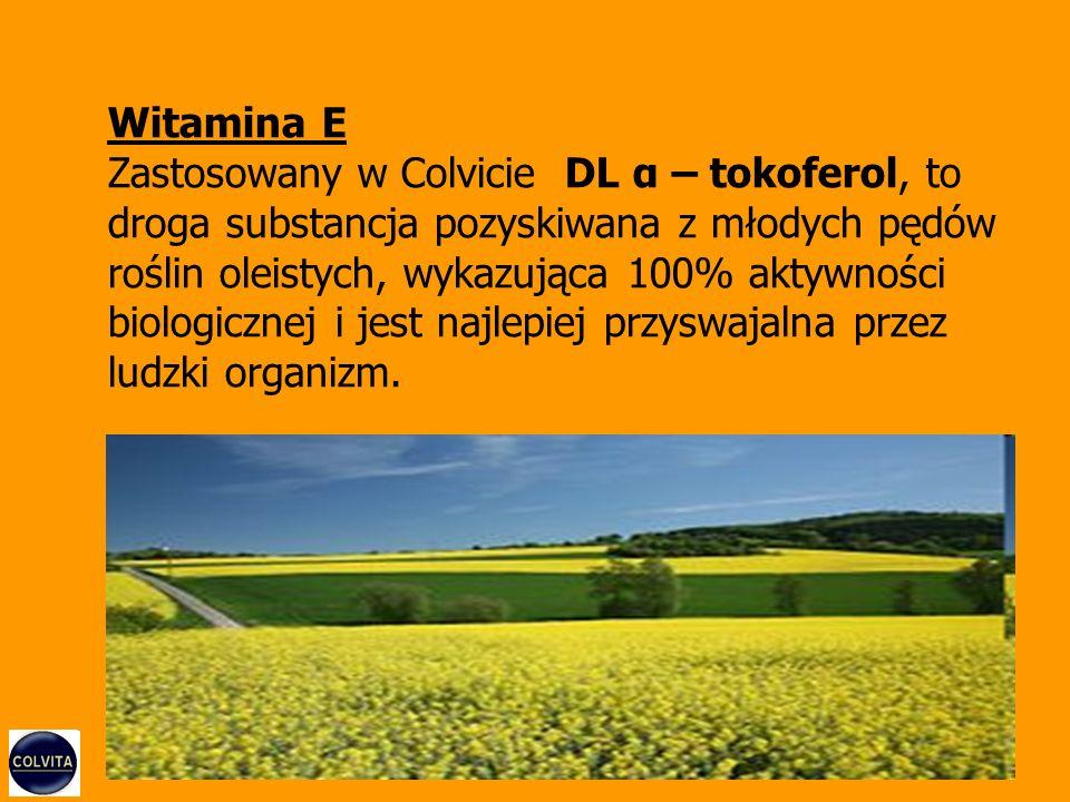 Witamina E Zastosowany w Colvicie DL α – tokoferol, to droga substancja pozyskiwana z młodych pędów roślin oleistych, wykazująca 100% aktywności biologicznej i jest najlepiej przyswajalna przez ludzki organizm.