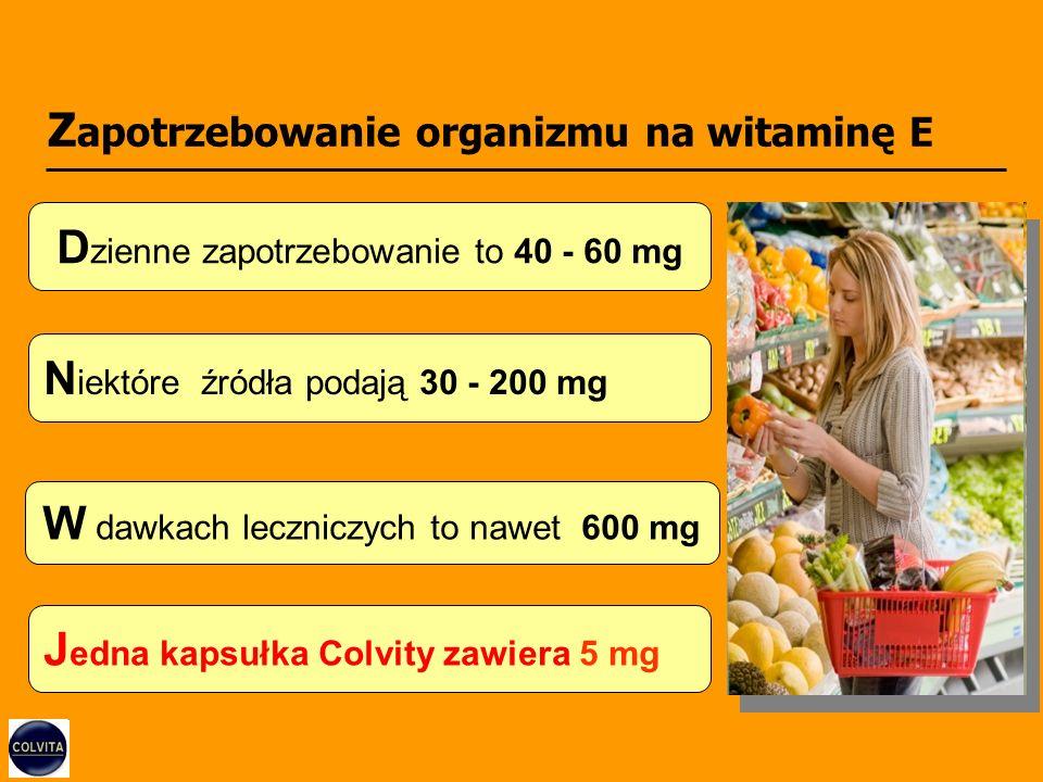 Z apotrzebowanie organizmu na witaminę E D zienne zapotrzebowanie to 40 - 60 mg N iektóre źródła podają 30 - 200 mg W dawkach leczniczych to nawet 600 mg J edna kapsułka Colvity zawiera 5 mg