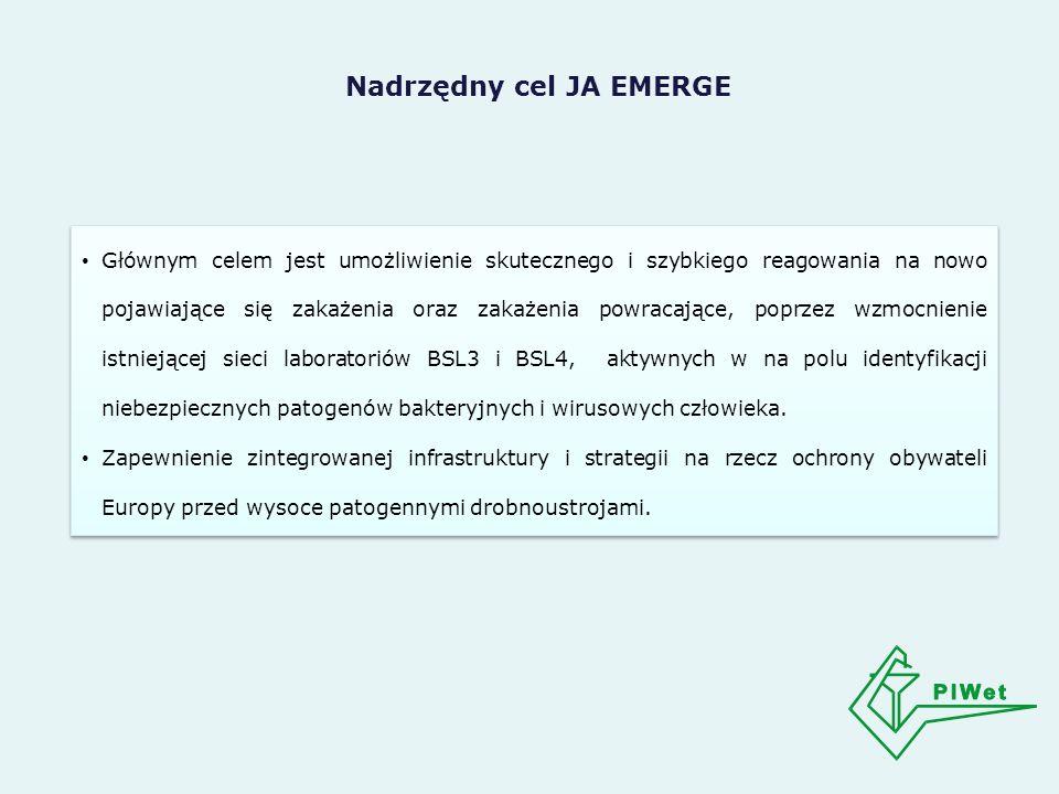 Nadrzędny cel JA EMERGE Głównym celem jest umożliwienie skutecznego i szybkiego reagowania na nowo pojawiające się zakażenia oraz zakażenia powracające, poprzez wzmocnienie istniejącej sieci laboratoriów BSL3 i BSL4, aktywnych w na polu identyfikacji niebezpiecznych patogenów bakteryjnych i wirusowych człowieka.